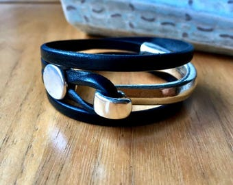 Leather bracelet | Joanna Gaines jewelry | Leather wrap bracelet | uno de 50 | Wife gift | Silver and leather | Bracelet | Stackable