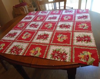 Christmas tablecloth with poinsettias and bells, small red and white Christmas tablecloth, Christmas fabric with bells and poinsettias