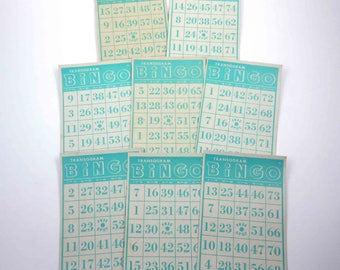 Vintage 1940s Aqua Green Transogram Bingo Cards Set of 8