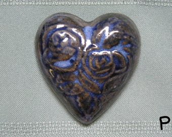 Heart Fridge Magnet with Rose Design - Blue Mix - Stoneware Handmade Pottery Best Friend BFF Gifts Party Favors Wedding Favors
