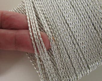 36 yards Round woven SILVER and WHITE cord forfly tying kumihimo macrame sewing braiding knitting 2 mm thick #5090-H-1