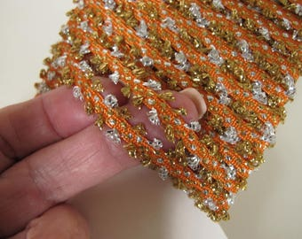 7 yards PUFF BRAID orange silver gold Reversible, 10 mm wide. 5090-F-1 sewing braid, knitting braid, accessory, embellishment