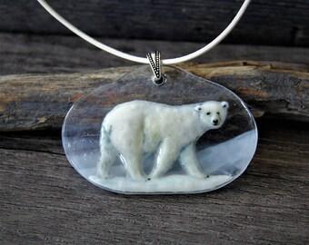 Amazing Polar bear necklace , fused glass jewelry - Fused glass pendant -