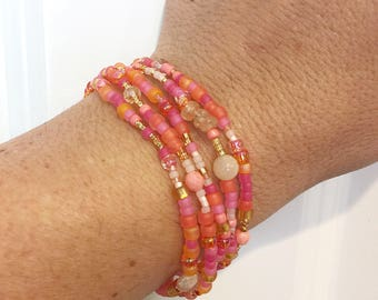 Summer Fun Stretch Wrap Bracelet, Citrine, Quartz, Salmon Coral, Jade, Necklace, Gold, Layering Accessory, Jewelry Pink, Orange, Yellow