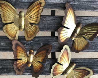 Set of 4 Vintage Copper Butterfly Wall Hangings Rust Metal Brass Decor