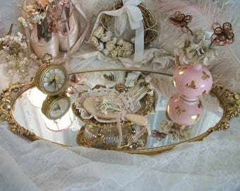 very large vintage vanity stylebuilt perfume mirrored tray or plateau, stunning deeply carved dimensional handles, 21 x 10.5, dramatic decor