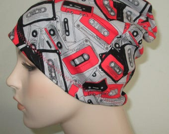 Chemo Hat Beanie Cassettes Sleep Cap, Cancer Hat, Alopecia