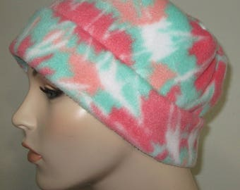 Fleece Pillbox Coral and Green Print Anti Pill  Winter Hat, Cancer, Chemo Hat, Warm Hat