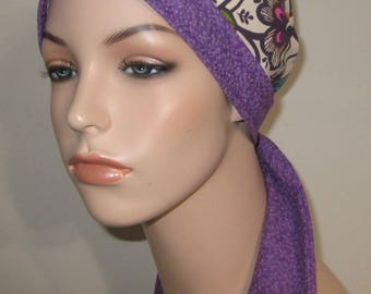 Dual Purple Prints  Chemo Scarf, Hat, Cancer Hat, Hijab, Alopecia