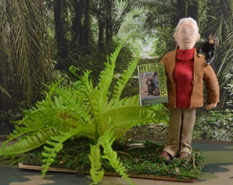 Jane Goodall Doll Miniature Art Character Chimps and Apes Study of Animals Mini Diorama