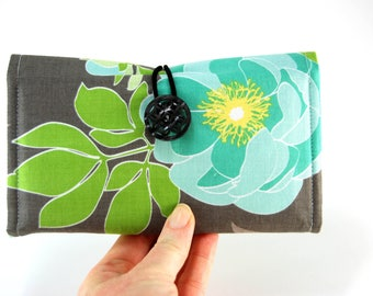 Checkbook Cover for THREE, Fabric Checkbook Case, Checkbook Holder, Multiple Checkbook Cover, Bold Gray and Blue Floral print