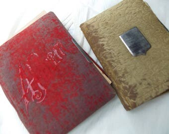 2 Victorian Photo Albums, Worn Covers, 19 Victorian Pages for your framing, projects, mixed media, art, collage