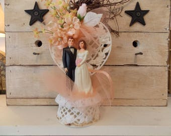 Vintage Lovely Bride and Groom Wedding Cake Topper Heart Pink Flowers Netting Ribbon Pink Bouquet Charming