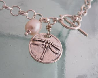 Handcrafted Silver Dragonfly Bracelet with Freshwater Pearl, Rolo Link Charm Bracelet