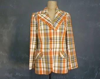 Vintage Plaid Jacket 1970s Oversize Plaid Bay City Rollers Blazer by Utex Wide Lapels