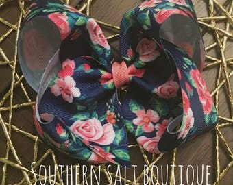 Navy Floral Bow -Boutique Hair Bow - Girls Hair Bow
