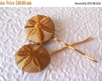 CLEARANCE - 2 mustard hair-pins, floral hair-pins, embroidered hairpins,  1 1/8 inch hairpin, hair accessory, womens accessory