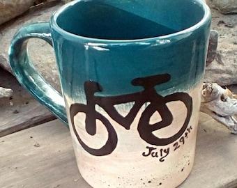 Personalized bike mug pottery coffee mug latte tea bistro mug made to order ceramic pottery mug personalized custom mountain bike rustic mug