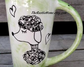 Custom Poodle mug pottery mug choose your color personalized or not large pottery bistro mug dog mug hearts dog mom dog dad dog lover mug