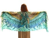 Wings Scarf, Hand Painted Cotton Scarf, Women Gift, Wing Feather Shawl, Blue Scarf, Sarong Scarf, Bird Wings Shawl, Boho Scarf, Gift For Her