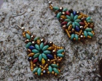 Boho Chandelier Earrings, Bohemian Chandelier Earrings, Southwestern Colors Chandelier Earrings, Gift for Her