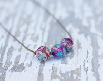 purple imperial jasper / big triple knotted / handspun ROPE necklace / waterproof / kid-proof / life-proof / bohemian / minimalist beauty /