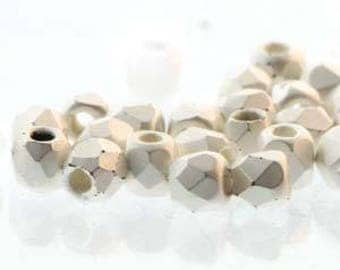 True 2 Czech Fine Brush Silver Faceted Fire Polished Glass Beads 2mm (200+/-)
