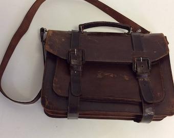 Raw  Distressed Leather Vintage  Crossbody Briefcase  Messenger Laptop Schoolbag