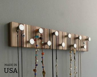 Wood and Metal Jewelry Rack, Wall Mountable, Striped Pattern