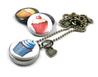 Cupcake Locket Necklace • Baker Locket • Cupcake Gift Idea • Cupcake Jewelry • Miracle Muffin • Magnetic 3 in 1 Set • Cupcake Fanatic