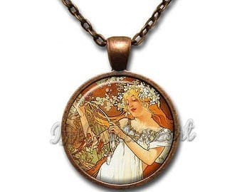 25% OFF - Mucha's Painting Spring Glass Pendant Necklace Square Round AP156