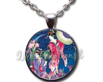 25% OFF - Geisha Women in Royal Blue Glass Dome Pendant or with Chain Link Necklace AP141