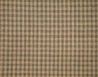 FLAWED Homespun Fabric | Homespun Material | Small Check | Sage Green | 40 x 44