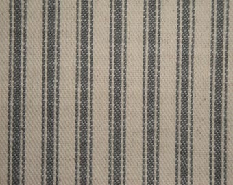 Ticking Stripe Material | Striped Fabric | Vintage Inspiried Ticking | Steel Gray |  28 x 44