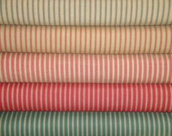 Stripe Material Fat Quarter Bundle Of  5 | Red & Green Stripe Ticking Material | Ticking Stripe Material | Cotton Home Decor Material