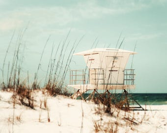 Beach photograph, nautical decor, lifeguard chair, pastel, Florida beach photo, lifeguard chair, muted, beachscape, ocean photography