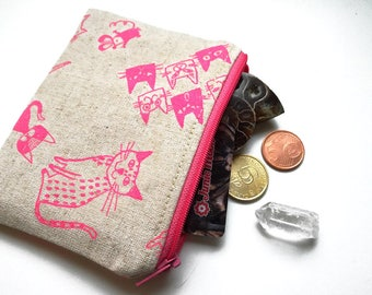 Cute and Useful Coin Pouch Featuring Japanese Wonderful Cats, Handmade, Holds Cash, Cards, Coins, Anything!