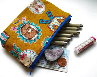 Animal Badge Pouch, Cute Handmade Cotton Gusseted Pouch For School Supplies, Cosmetics and More!