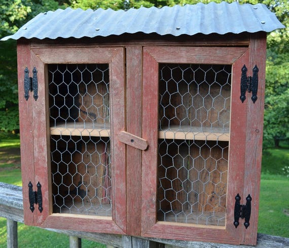 Chicken Coop Wall Storage Display Cabinet Made of Barn wood