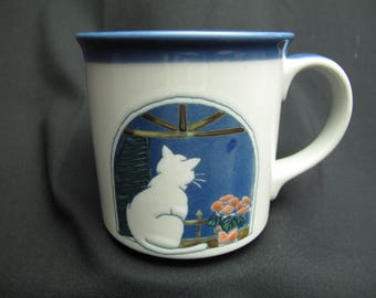 Vintage Cat In The Window Coffee Mug Tea Cup