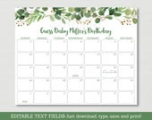 Green Floral Baby Due Date Calendar / Floral Baby Shower / Watercolor Floral / Birthday Predictions / INSTANT DOWNLOAD Editable PDF A178