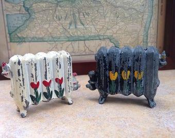 Vintage Radiator Salt and Pepper Shakers