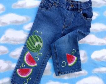 Girls Jeans/Kids Fashion/Art For Kids/Watermelon Art/Painted Watermelons/Upcycled Art/Painted Fabric/Painted Denim