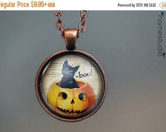 ON SALE - Boo Cat : Glass Dome Necklace, Pendant or Keychain Key Ring. Gift Present metal round art photo jewelry by HomeStudio