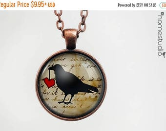 ON SALE - Raven Heart : Glass Dome Necklace, Pendant or Keychain Key Ring. Gift Present metal round art photo jewelry by HomeStudio