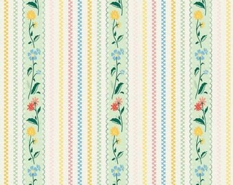 "ON SALE Penny Rose Fabrics ""Bunnies and Cream"" Mint Stripe"
