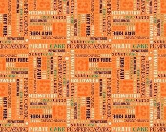 ON SALE Penny Rose Fabrics Trick or Treat Words Orange