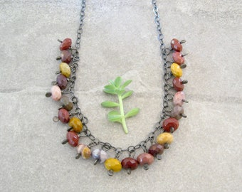 jasper and silver necklace, wire wrap rustic necklace, mookaite jasper necklace, stone necklace, boho necklace
