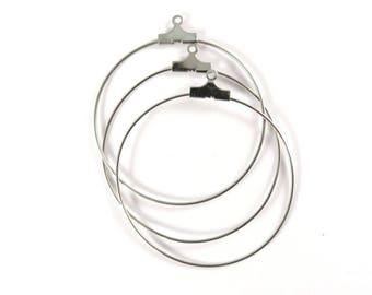 10 Beading Hoop Earring Hoop Stainless Steel Closed Hoop Drop Beads 26mm Round 21g - 10 pc - M7084HP-SS10