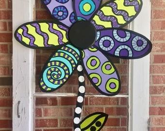 Flower door hanger, Flower wreath, summer door decor, metal flower, flower wall decor